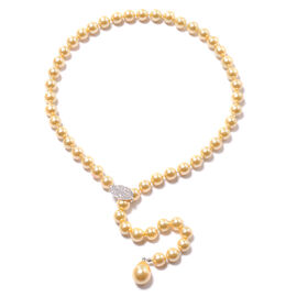 Designer Inspired- Golden Shell Pearl, Simulated Diamond Adjustable Beaded Necklace (Size 24)