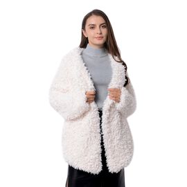 Faux Fur Long Sleeves Short Coat Size L - XL in Off White Colour