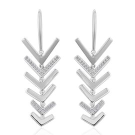 New Launch - LucyQ Tri Collection Natural White Cambodian Zircon (Rnd) Arrow Hook Earrings in Rhodium Overlay Sterling Silver 1.000 Ct, Silver wt 8.29 Gms.