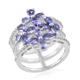 Natural Cambodian Zircon (Rnd),Tanzanite Ring in Rhodium Overlay Sterling Silver 2.60 Ct. Silver Wt. 6.00 Gms