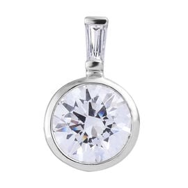 Made with Swarovski Zirconia Solitaire Drop Pendant in Platinum Plated Sterling Silver