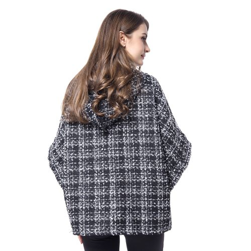 Designer Inspired -Black, White and Grey Colour Checks Pattern Cape (Size 75X60 Cm)