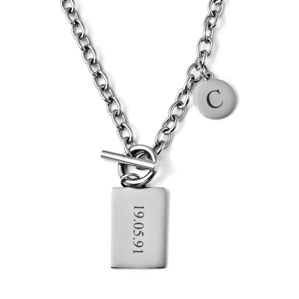 Personalised Engravable Dog tag and Disc in Stainless Steel, 22 Inches