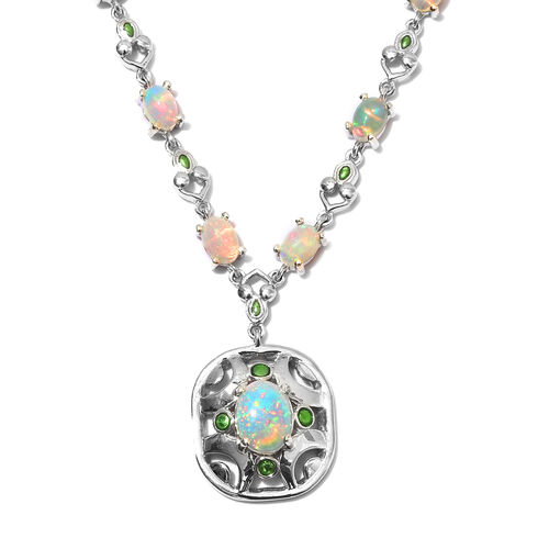 Ethiopian Welo Opal Enamelled Necklace (Size 18) in Platinum Overlay Sterling Silver 8.00 Ct, Silver