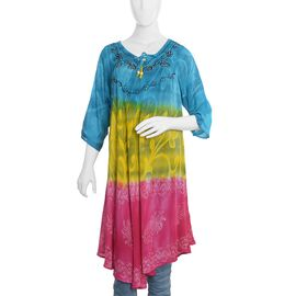 Blue, Yellow and Pink Colour Umbrella Dress (Size 110x65 Cm)