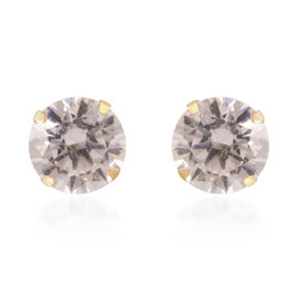 Close Out Deal- 9K Y Gold 5mm AAA Simulated Diamond Stud Earrings (with Push Back)