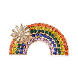 Multi Colour Crystal Studded Flower on Rainbow Brooch
