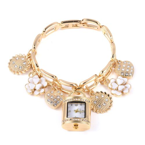 STRADA Japanese Movement White Austrian Crystal Studded Water Resistant Watch and Multi Charm Bracelet (Size 7.5) with Golden Strap