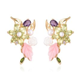 Jardin Collection - Pink and Yellow Mother of Pearl, Freshwater Pearl and Multi Gemstone Earrings (w