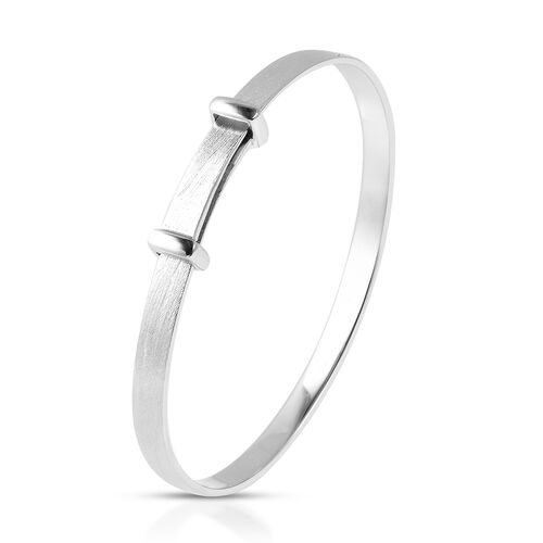 Rhodium Overlay Sterling Silver Adjustable Shiny Bangle (Size 5), Silver wt 10.90 Gms