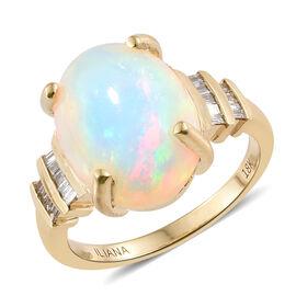 WEBEX- ILLIANA 18K Yellow Gold Ethiopian Opal (Ovl 4.75 Ct), Diamond (SI/G-H) Ring  5.440 Ct, Gold wt. 5.90 Gms.