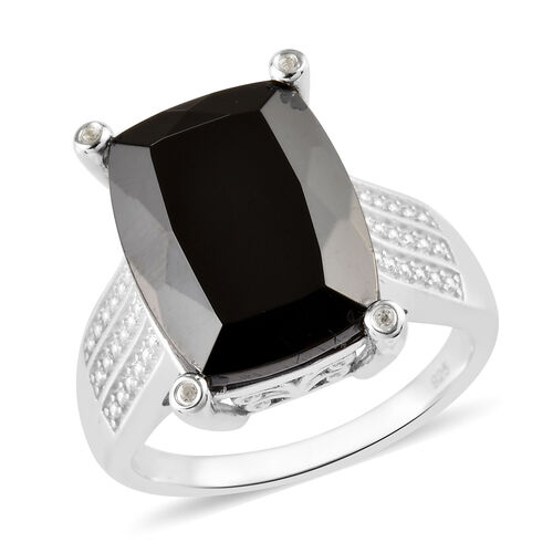 6.58 Ct Elite Shungite and Zircon Ring in Platinum Plated Silver