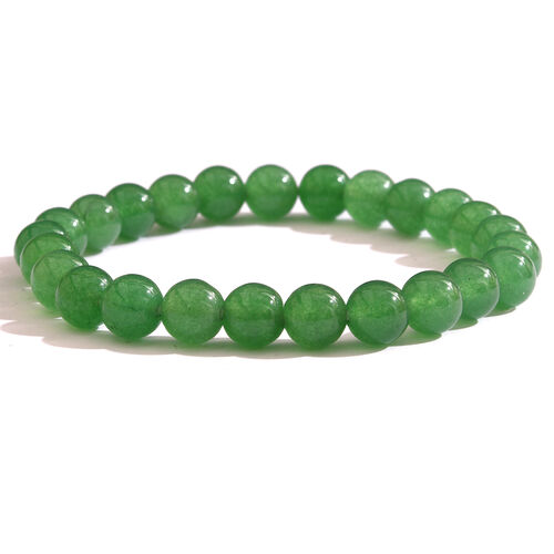One Time Deal-Green Aventurine Round Beads Stretchable Bracelet.Total Wt 87.00 Cts