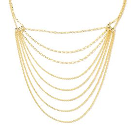 Lucy Q Yellow Gold Overlay Sterling Silver Multi Strand Necklace (Size 18 and 5 inch Extender), Silv