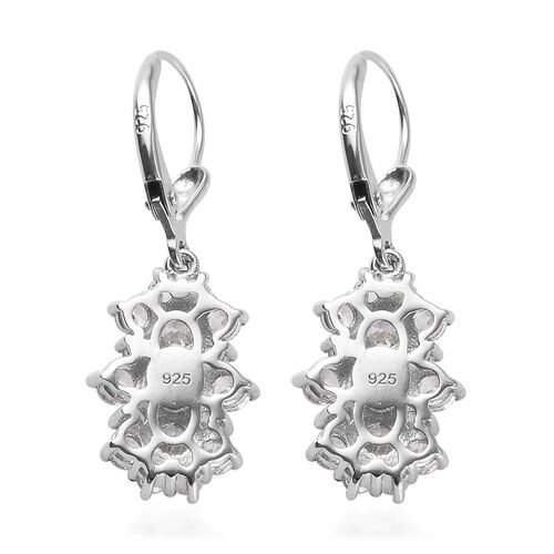 J Francis - Platinum Overlay Sterling Silver Cluster Lever Back Earrings Made with SWAROVSKI ZIRCONIA 4.64 Ct.