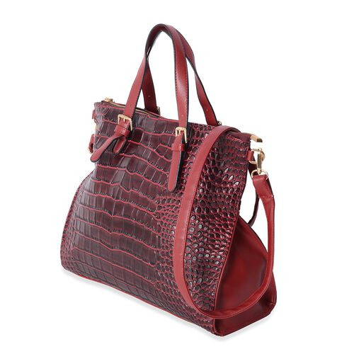 Last Chance To Buy Burgundy Colour Crocodile Embossed Tote Bag with Removable Shoulder Strap (Size 35.5x30x13 Cm)