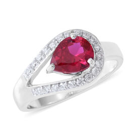 ELANZA Simulated Ruby (Pear), Simulated Diamond Ring in Rhodium Overlay Sterling Silver