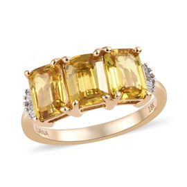 ILIANA AAA Yellow Sapphire and Diamond Trilogy Ring in 18K Gold 3.51 Grams SI GH,3.10 Ct