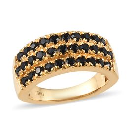 J Francis - Crystal from Swarovski Jet Crystal (Rnd) Ring in 18K Yellow Gold Plated