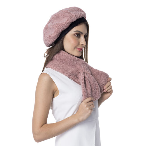 Super Soft Faux Fur Beret Hat and Scarf Set - (Scarf:13x92cm) (Hat:One Size) -  Pink