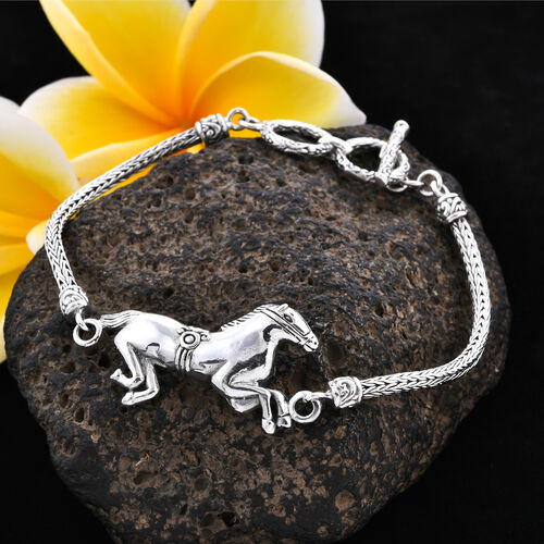 Royal Bali Collection - Sterling Silver Horse Tulang Naga Toggle Bar Bracelet (Size 7.5 with Extender),  Silver wt 13.87 Gms