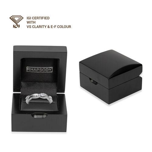 RHAPSODY 950 Platinum IGI Certified Diamond (VS/E-F) Twisted Ring 0.25 Ct.