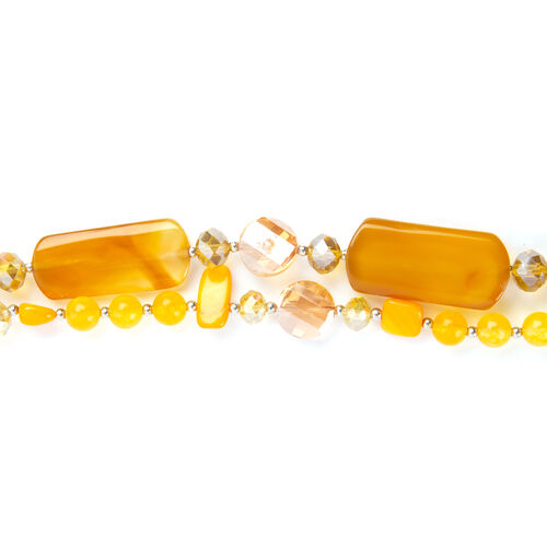 Yellow Agate,Simulated Yellow Sapphire and Simulated Yellow Shell Necklace (Size 29) in Silver Plated 700.050 Ct.