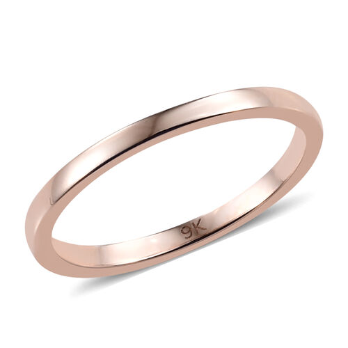2mm Plain Wedding Band Ring in 9K Rose Gold 1.52 grams