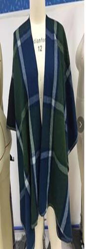 Plaid Pattern Kimono in Green and Navy (110x80)