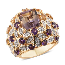 AAA  Anahi Ametrine (Oct 4.80 Ct), Amethyst and Multi Gem Stone Cluster Ring in 14K Gold Overlay Ste