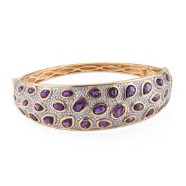 Limited Edition-Lusaka Amethyst (Ovl, Rnd and Pear), Natural Cambodian Zircon Bangle (Size 7.5) in 1