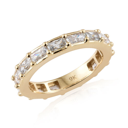 J Francis Made with Swarovski Zirconia Eternity Band Ring in 9K Gold 3.1 Grams