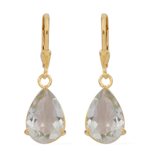 Green Amethyst (Pear) Lever Back Earrings in 14K Gold Overlay Sterling Silver 6.500 Ct.