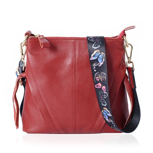 Super Soft 100% Genuine Leather Red Colour Cross Body Bag with Adjustable and Removable Butterfly Pattern Shoulder Strap (Size 23x22x7 Cm)