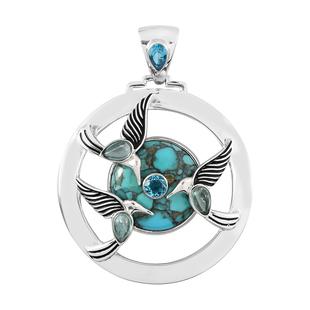 Sajen Silver NATURES JOY Collection - Blue Green Apatite, Celestial Paraiba Doublet Quartz and Turqu