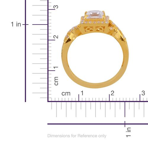 J Francis - 14K Gold Overlay Sterling Silver (Sqr) Ring Made with SWAROVSKI ZIRCONIA 1.564 Ct.