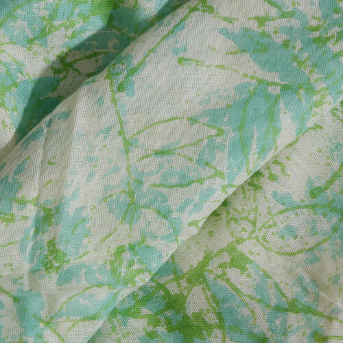 Green and Off White Colour Leaves Printed Scarf with Tassels (Size 180X70 Cm)