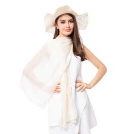 White Solid Colour Scarf (Size 180x70 Cm) with Translucent Strip Pattern Hat including Bowknot Strin