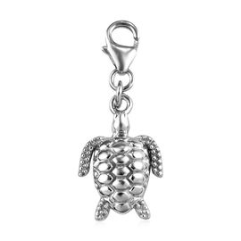 Turtle Lucky Charm in Platinum Overlay Sterling Silver