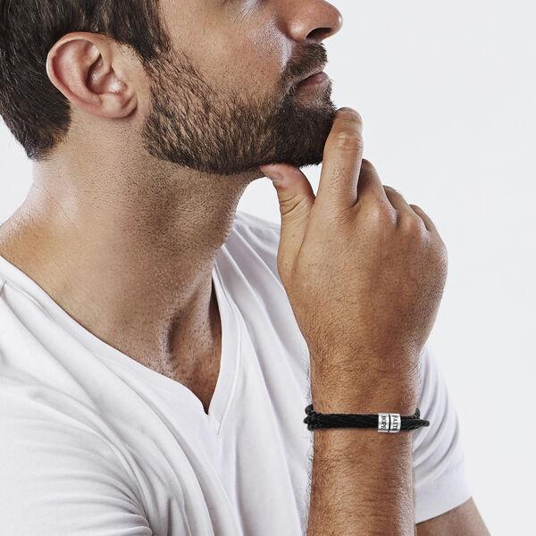 Personalise Engravable 2 Rings Leather Bracelet