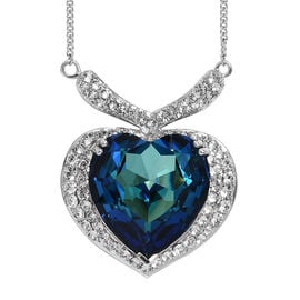 J Francis Swarovski Bermuda Blue Crystal and White Crystal Heart Necklace in Silver 19.5 Grams