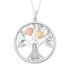 ELANZA Simulated Diamond (Rnd) Tree of Life Pendant with Chain in Three Tone Overlay Sterling Silver