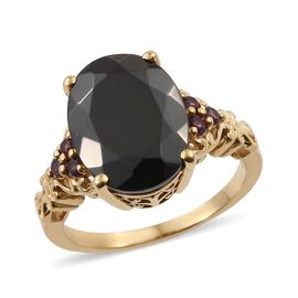 6.15 Ct Elite Shungite and Rhodolite Garnet Classic Ring in Gold Plated Silver 5 Grams