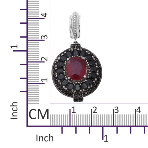 One Time Deal- African Ruby (Ovl), Boi Ploi Black Spinel Pendant in Rhodium Overlay Sterling Silver 9.69 Ct, Silver wt 8.89 Gms