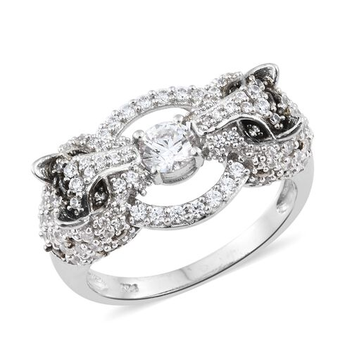 J Francis Made with SWAROVSKI ZIRCONIA Ring in Platinum Overlay Sterling Silver 6.68 Gms