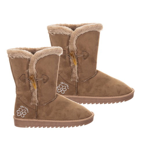 GURU Womens Winter Fluffy Ankle Boots with Button Closure - Brown