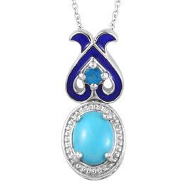 GP Arizona Sleeping Beauty Turquoise, Neon Apatite and Blue Sapphire Enamelled Pendant with Chain (S