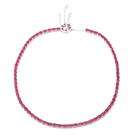 African Ruby (Ovl), Natural White Cambodian Zircon Necklace (Size 18) with Dreamcatcher Clasp in Rho