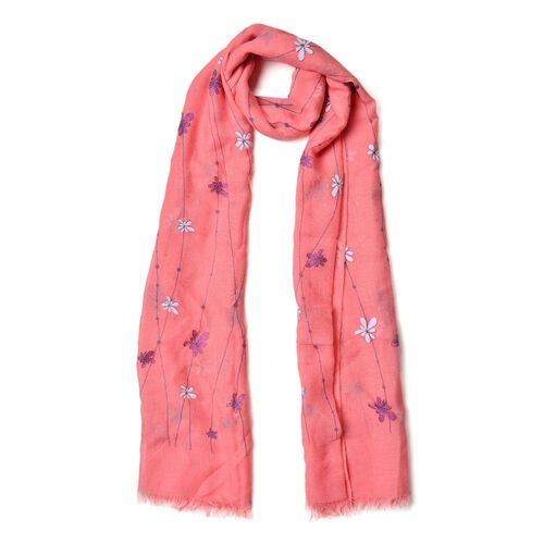 Designer Inspired- White and Blue Colour Chrysanthemum Floral Pattern Pink Colour Scarf (Size 180x70 Cm)