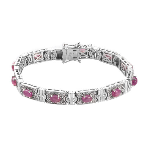 African Ruby and Natural Cambodian Zircon Bracelet (Size 7.5) in Platinum Overlay Sterling Silver 11